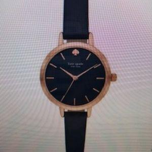 Kate Spade metro three-hand navy leather watch .